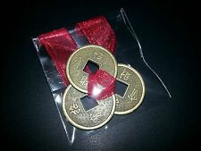 Feng Shui Lucky Chinese I-Ching Coins Set of 3 tied 23mm Red Ribbon I Ching Luck