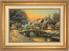 Thomas Kinkade Cobblestone Christmas 18 x 27 LE S/N Canvas (Gold Frame)