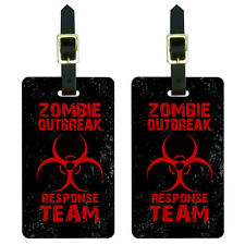 Zombie Outbreak Response Team Red Distressed Luggage Suitcase ID Tags Set of 2