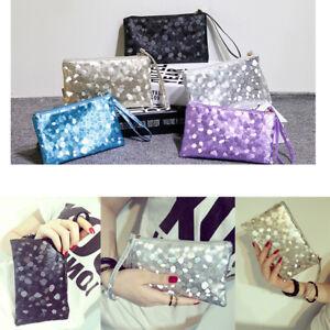 Sparkly Clutch Evening Bag Wedding Bridesmaid Fashion Handbag Glitter Makeup HOT