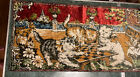 """Vintage Cats Playing Chess Tapestry Velvet Wall Hanging Rug Made Italy 38x19"""""""