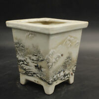 Chinese old porcelain  Snowscape chart of Pastel Porcelain flower pots