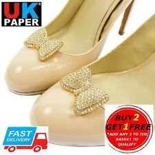 NEW DECORATIVE BOW SHOE CLIPS SILVER GOLD PEARL DIAMANTE BUCKLES CLIP ONS BRIDAL