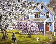 Paint By Numbers Kit Canvas 50*40cm 8120 Country Lilacs House AU Stock Wall Art