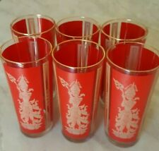 6 FEDERAL CULVER GLASS RED GOLD ASIAN THAI GODDESS DRINKING TUMBLERS GLASSES