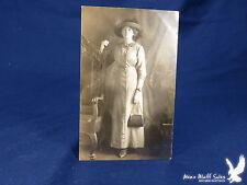 RPPC Woman Portrait Big Hat Early Wristwatch Handbag Purse