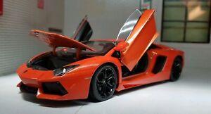 1:24 Lamborghini Aventador LP LP700-4 Roadster Orange WELLY Voiture Miniature