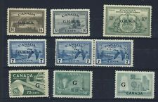 9x Canada Mint stamps 4x OP OHMS 1xOHMS Perf-in 3xG OP Guide Value = $85.00