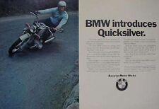 BMW 500 600 750 QUICKSILVER 2 Page Motorcycle Ad 1970