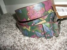 NEW $49 Patricia Nash Vietri Metallic Paisley Leather Belt  M L