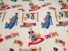 TWIN FLAT BED SHEET ~ DISNEY MICKEY MOUSE CLUBHOUSE White Red Blue Kids