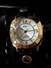La Mer ODYSSEY Wrap Watch Black Minimal Leather Watch RETAIL $80 NIB free shpg