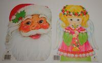 """Vintage Xmas Lot of 2 Die Cut Card Decorations SANTA & ANGEL 8"""" x 11"""""""