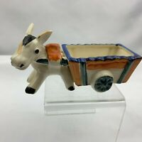 Vintage Donkey Pulling Cart Planter - Blue Cart Trim - Made in Japan