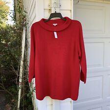 NWT Talbots Fun Red Audrey Neck 3/4 Sleeve Sweater 3X 22W 24W