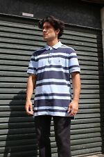 TOMMY HILFIGER Mens Blue Striped Polo Shirt Top Short Sleeved Large Cotton