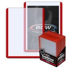 25 BCW 3 x 4 TOPLOAD BASEBALL TRADING CARD HOLDERS RED BORDER HARD PROTECTORS