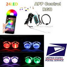 24-SMD RGB LED Demon Eye Halo Ring Kit APP Control For Car Headlight Projectors