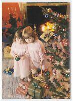 Navidad Foto Tarjeta Postal Niñas Árbol Decoraciones Bolas Vidrio No Viaggiata