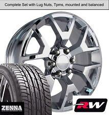 "20 x9"" inch GMC Sierra 1500 Honeycomb Wheels Chrome Rims Tires fit Silverado"
