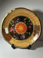 Vintage Mexican Batea Folk Art Wooden Serving Tray Brown Floral Handles 10.5""
