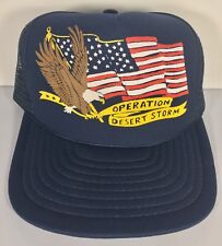 Vintage Operation Desert Storm American Flag Eagle Trucker Hat Blue Mesh USA