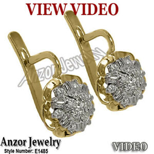 Old Russian design Vintage Style 14k Yellow & White Gold diamond earrings 585