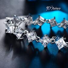 18K WHITE GOLD GF PRINCESS CUT SIMULATED DIAMOND BRIDE WEDDING CHAIN BRACELET
