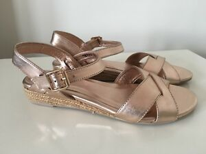Gamins Leather Sandals Wedge Rose Gold Size 39 New #23