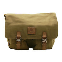 Underwood & Tanner - Olive Green Satchel Canvas Messenger Bag with Leather Trim