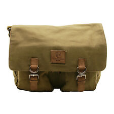 Underwood & Tanner - Olive Green Satchel Canvas Messenger Bag with Leather Trim