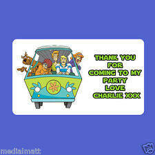 21 Personalised ScoobyDoo Party Bag Stickers Labels Sweet Cones Boxes Gift