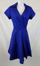 Maggie Tang Dress Sz Medium Short Sleeve Rockabilly Swing Cotton Blue