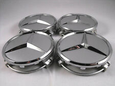 Mercedes Benz Center Caps 4x Grey/Chrome 3 Inch/75mm Fits Most Models
