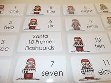 Santa 10 Frame Counting Cards.  Preschool-Kindergarten Mental Math flashcards.