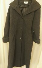 Mario De Pinto MDP Vintage USA Made Black 100% Wool Long Coat With Hood Large