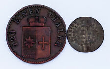 Lot of 2 German States Coins 1830 - 1867 Wurttemberg and Waldeck-Pyrmont