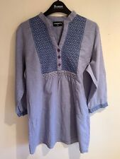 Pinkberry - 100% Cotton Long Teacloth-Check Tunic with Embroidered Bib, XL UK 14