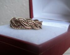 Clogau  Welsh 9ct Rose & Yellow Gold Celtic Weave Ring h/m 1997  -  Size M