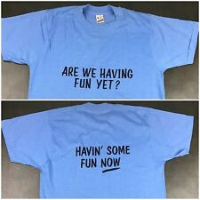 "Vintage Mens M 80s Screen Stars ""Are We Having Fun Yet"" Baby Blue NOS T-Shirt"