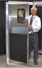 """36""""x 80"""" Stainless Steel Restaurant Door. New Traffic Door with kick plates."""