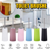 Toilet Brush Set Bathroom Cleaning Holder Standing Stainless Steel Home WC  *