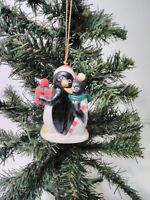 Christmas Ornament Best Friends Hand Painted Bisque Porcelain Bell Penguins