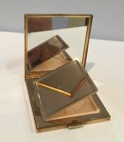 Vintage Volupte USA Never Used All Brass Compact With Mirror Etched Design WOW!