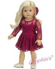 """Berry Lace Overlay Long Sleeve Dress & Headband fit 18"""" American Girl Doll"""
