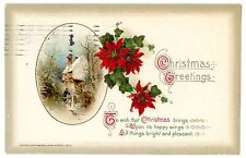 Christmas Greetings -ENGLISH COTTAGE IN WINTER & POINSETTIA-John Winsch Postcard