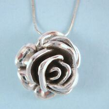 "STERLING SILVER Designer Inspired .925 NEW 1"" Solid Rose Necklace Bridal USA"