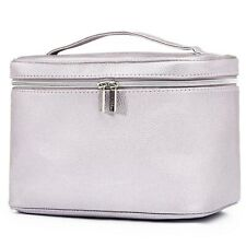 QVC TILI Large Silver Metallic Beauty Make-up Bag Vanity Case NEW Pebbled