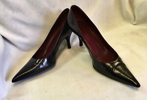 PRADA Calzature Donna Black Leather Women's High Heels Shoes Pumps EU 39.5 US 9