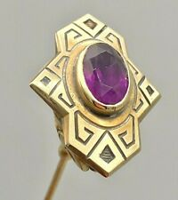 Antique Hatpin Gold Elegant Lady. 10kt-Marked. Amethyst. Lovely Collectible
